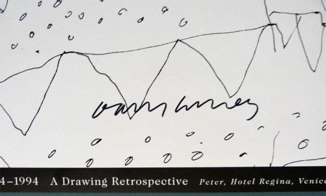 David Hockney Original Poster Hand Signed  'Peter, Hotel Regina, Venice, 1970'