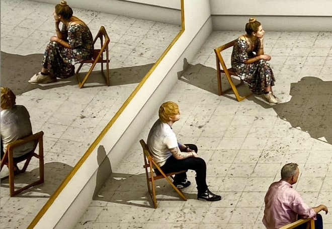 David Hockney, Viewers Looking at a Ready-made with Skull and Mirrors, 2018