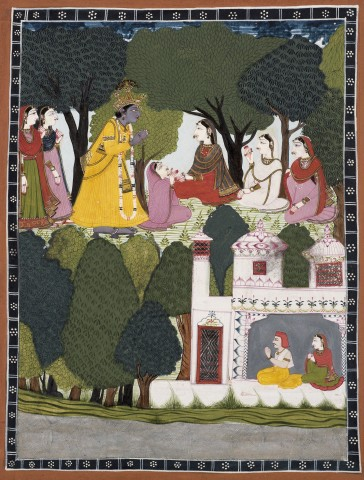 A remorseful Krishna approaches Radha