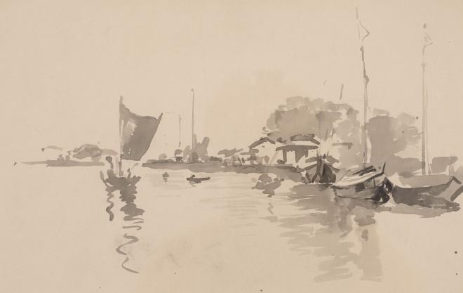 46. Atul Bose (1898 - 1977), Boats on the Padma, c. 1930