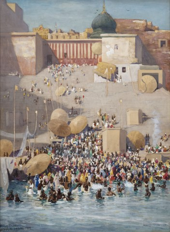 44. Frank Dean (1865 - 1947) , The Bathing Ghats, Benares , 1909