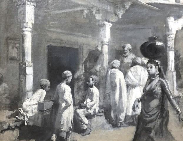 35. Edwin Lord Weeks (1849 - 1903) , In the Bazaar, Oudeypore