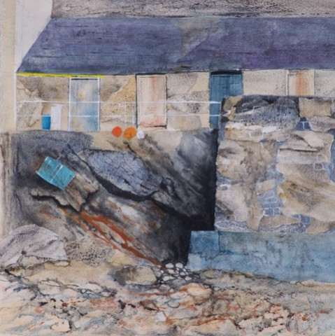 <p>Linda Saul, <em>Port Isaac Harbour Wall</em></p>