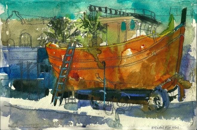 Angus McEwan, Fishing Boat at Marsaxlokk (Study)