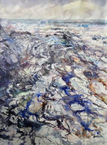 Sophie Knight, Looking Down onto Rock Strata, Incoming Tide with Rock Pools, Crackington Haven, Cornwall