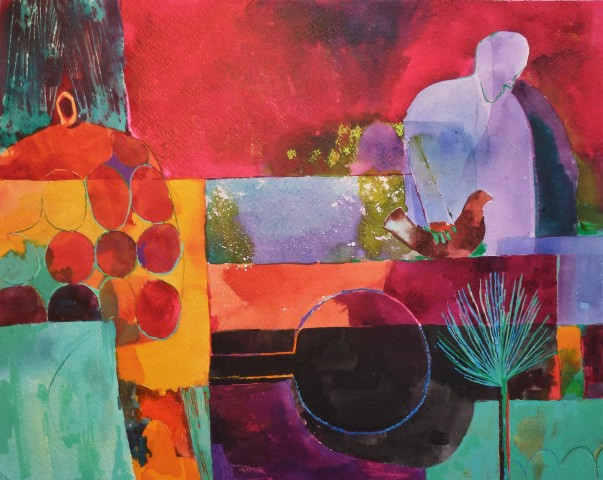 Claire Denny, Man and Bird in the Garden