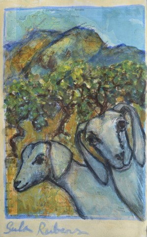 Sula Rubens, Two Goats in a Mountain Landscape