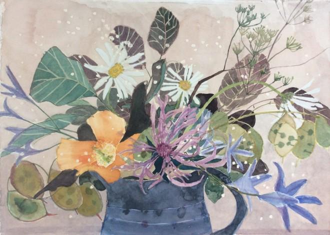 Suzy Fasht, Wild Flowers with a Poppy