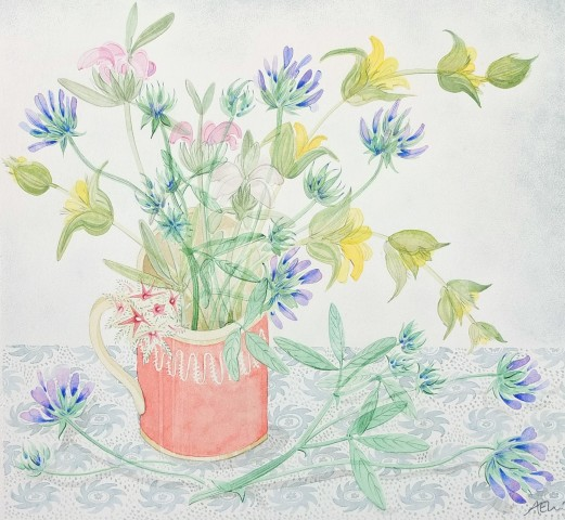 Angie Lewin, Pink Cup with Pitch Trefoil and Phlomis