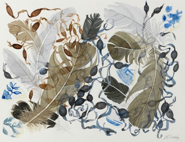 Angie Lewin, Berneray Blue, Brown Feathers