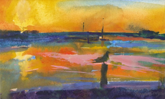 Francis Bowyer, Seagull at Sunset