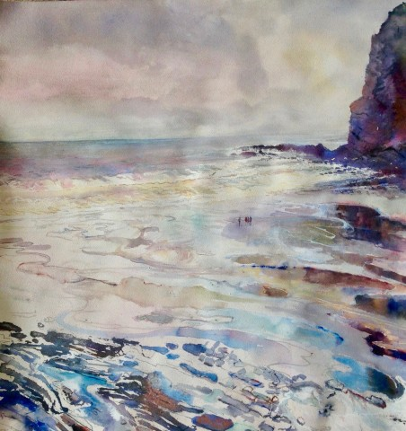 Sophie Knight, A Small Gathering on the Wet Sands, Crackington Haven, Cornwall
