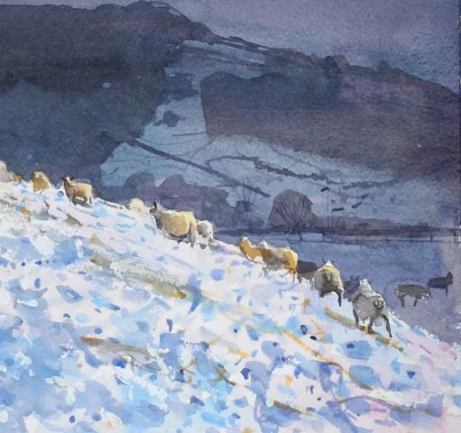 Richard Pikesley, Sheep on the Hill, Snowfall