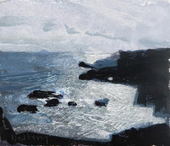 John Newberry, Rocks and sun dazzle on waves , La Palma