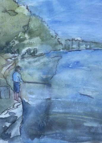 Thomas Plunkett, Boy Fishing, Helford River, Cornwall