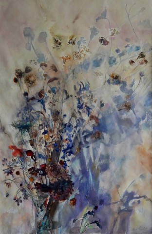 Sophie Knight, Dried Grasses with Delphiniums in the studio with Violet Shadow