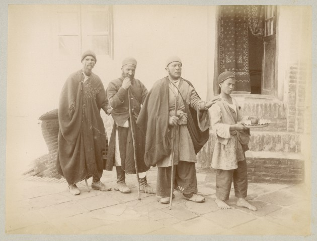 Antoin Sevruguin, Three blind men and their young guide, Late 19th Century