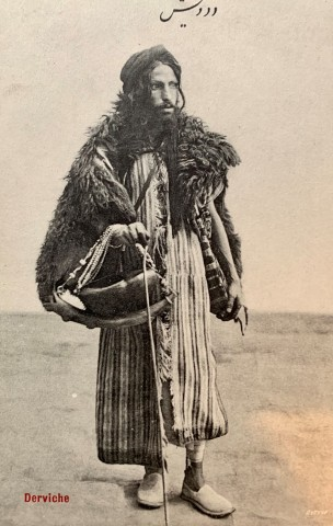 Antoin Sevruguin, A Dervish carrying a Kashkul, or beggar's bowl, Early 20th Century