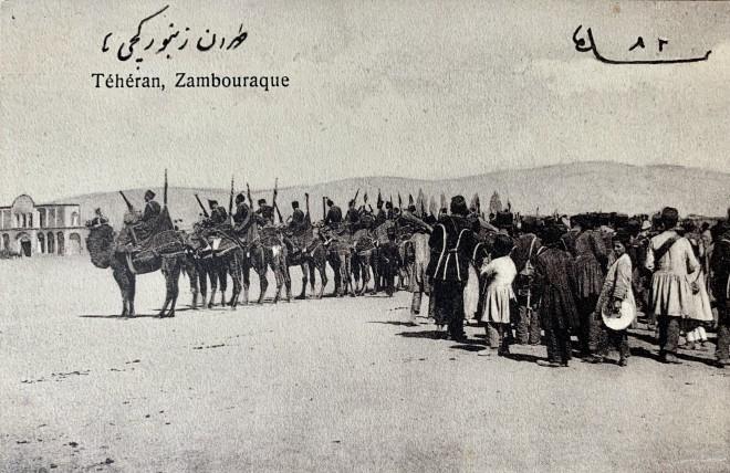 Antoin Sevruguin, Camel Calvary (Zamburak-chi Regiment), Teheran, Late 19th Century