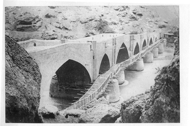 Antoin Sevruguin, A temporary bridge, Menzil, Late 19th Century