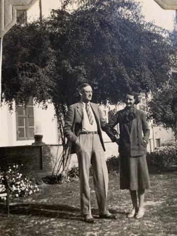 John Drinkwater, Lt.Colonel Everard Huddleston Gastrell and Adeline Delicia Gastrell in the British Consulate in Mašhad, 1934