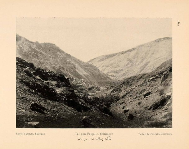 Antoin Sevruguin, Pasqal'a gorge, Shimran, 1926