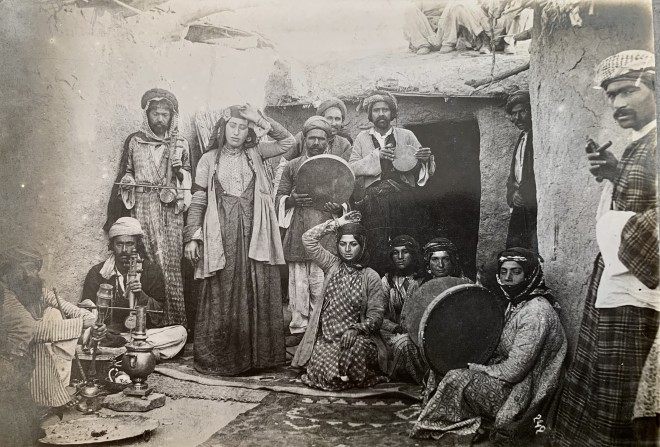 Antoin Sevruguin, A group of dancers and musicians, Late 19th Century or early 20th Century