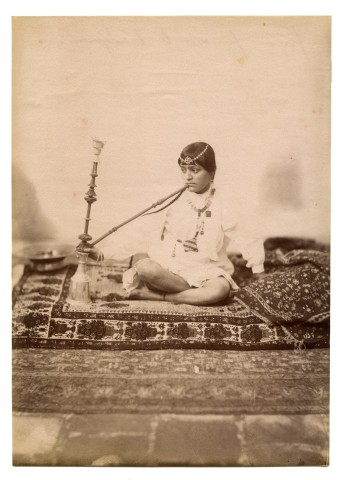 Antoin Sevruguin, A woman smoking a water pipe, Late 19th Century