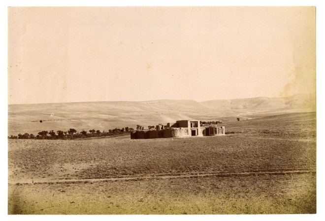 Antoin Sevruguin, A caravansary in Mazareh, on the route from Rasht to Mazareh, Late 19th Century