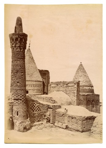Antoin Sevruguin, Mausoleum Complex of Sheikh Bayezid Bastami (Seljuk Minaret in the foreground) , Late 19th Century