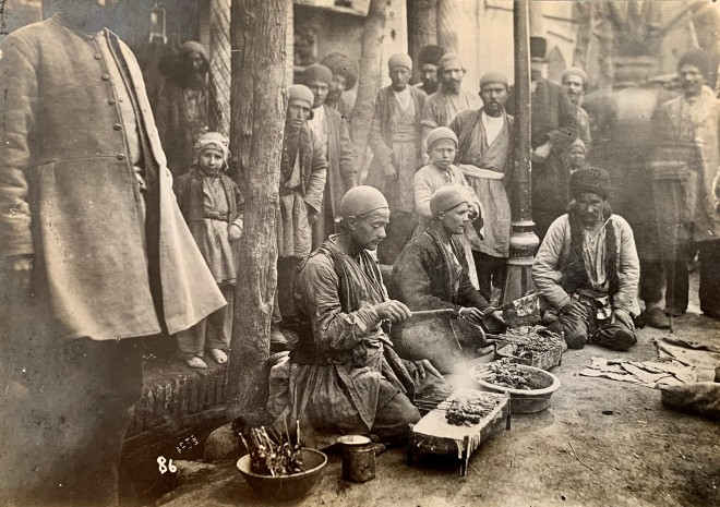 Antoin Sevruguin, A Jegaraki at the side of the street in Tehran, Late 19th Century or early 20th Century