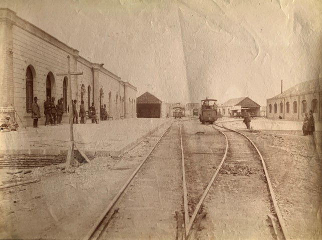 Antoin Sevruguin, The Tehran terminal on the Tehran to to the shrine of Abdul Aziz, Rey railway, Late 19th Century