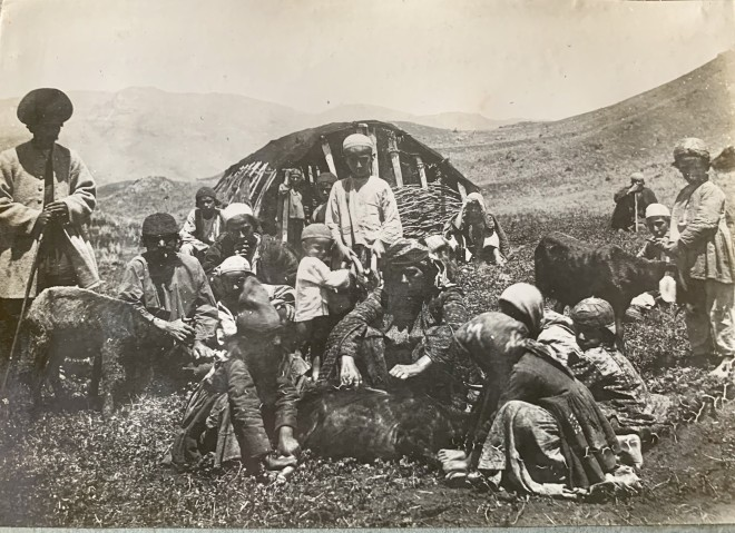 Antoin Sevruguin, Shearing goats, Mazandaran, Late 19th Century or early 20th Century