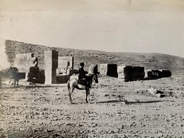 Antoin Sevruguin, A solider on horseback, Persepolis, Late 19th century or early 20th century