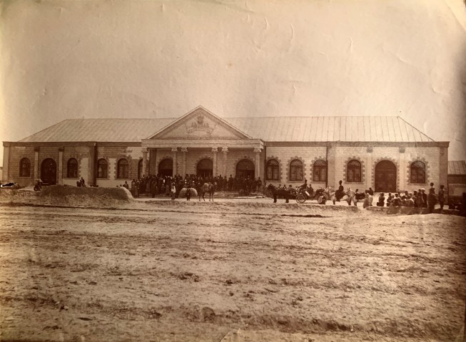 Antoin Sevruguin, Station building for the Tehran to the shrine of Abdul Aziz, Rey railway, Late 19th Century