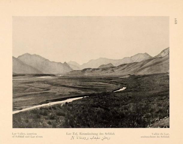 Antoin Sevruguin, Lar Valley, junction of Safidab and Lar rivers, 1926