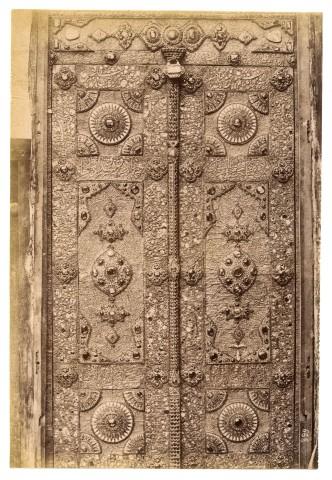 Antoin Sevruguin, A door to the shrine of Imam Reza in Mashhad, Late 19th Century