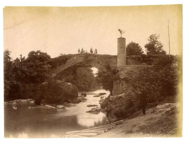 Antoin Sevruguin, The Safavid bridge and tower on route to Rasht, Late 19th Century