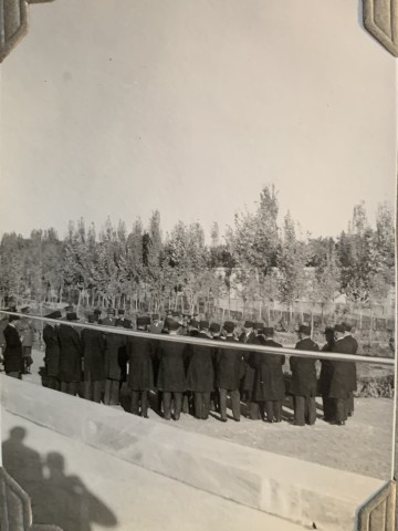 John Drinkwater, Reza Shah Pahlavi with members of parliament at Tus for the inauguration of the Ferdowsi Mausoleum, 1934