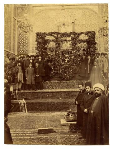 Antoin Sevruguin, Muzaffar al-Din Shah lying in state on a catafalque., 1907