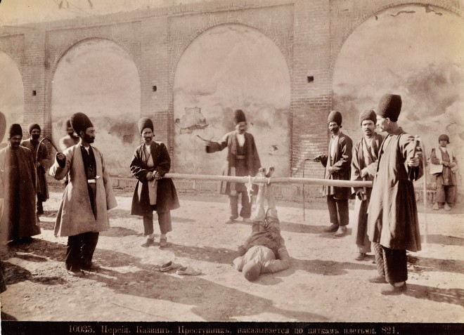 Dmitri Ivanovich Ermakov, Falak or Bastinado (corporal punishment) being carried out in the city of Kazvin, Late 19th Century