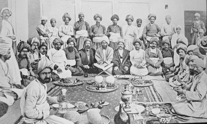 Antoin Sevruguin, A gathering of Zaroastrians with the Avesta celebrating in Yazd, Late 19th Century