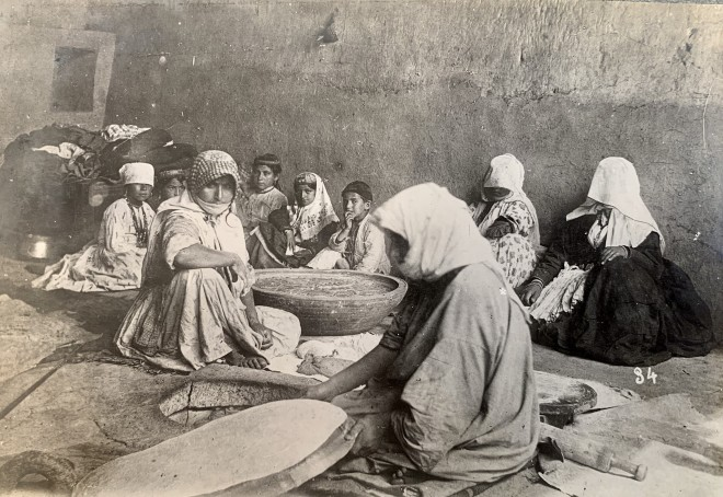 Antoin Sevruguin, Armenian women and children sitting in bakery in Salmas, Late 19th Century or early 20th Century