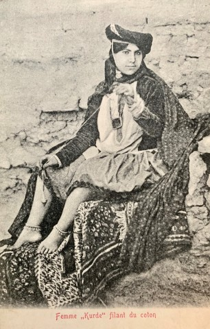 Antoin Sevruguin, A Kurdish woman spinning cotton, Early 20th Century
