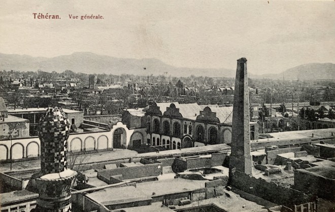 Antoin Sevruguin, Dar al-Funun from the Top of the Gateway to Maydan-i Tupkhana, Late 19th Century