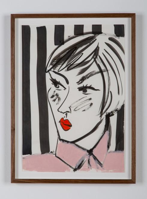 <p>Ella Kruglyanksya,<i>Face on Striped Background 01</i>, 2015</p>