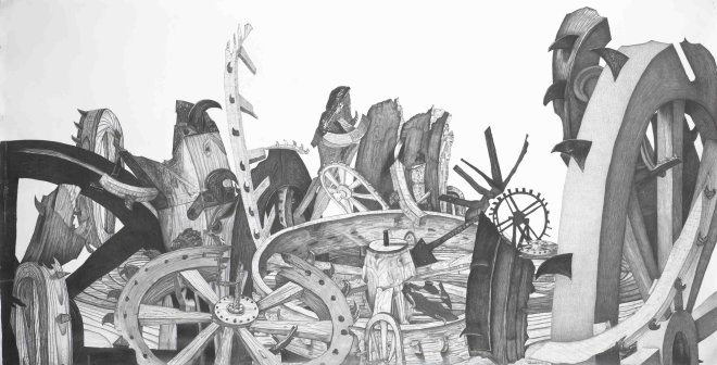 "<p><span lang=""EN-US"">Saint Catherine Wheels found dumped outside The National Gallery</span><span lang=""EN-US"">, 2012</span></p><p><span lang=""EN-US"">pencil on paper</span></p>"