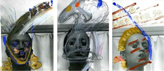 Birgit Jürgenssen  XXO, 1979  Black and white photographs coloured with oil pastels, oil paint, pencil  Black and white photographs coloured with oil pastels, oil paint, pencil  Unframed: 24 x 18 cm / 9 1/2 x 7 ins each  Framed: 49.5 x 80 cm / 19 1/2 x 31 1/2 ins