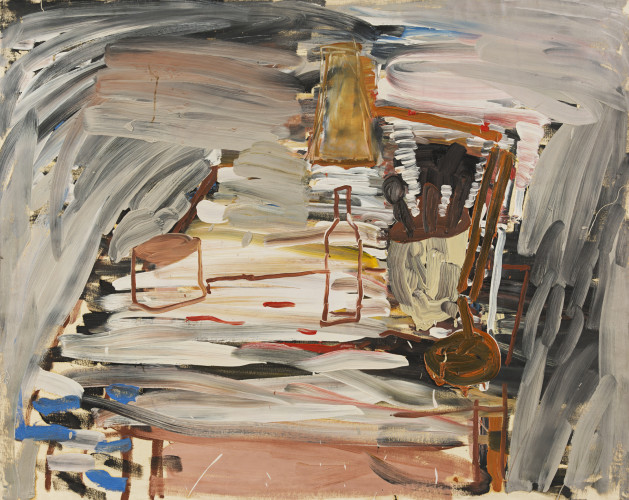 Roy Oxlade  Saucepan and Wine Bottle, 1984  signed and dated  Oil on canvas  120 x 151 cm, 47 1/4 x 59 1/2 ins unstretched