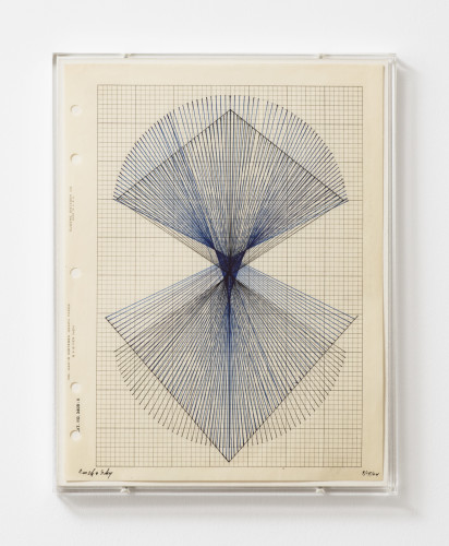 Lenore Tawney  Earth & Sky, 1964  India ink on graph paper, perspex frame  27.8 x 21.6 cm, 11 x 8 1/2 ins 29.3 x 23.1 x 2.2 cm, 11 1/2 x 9 1/8 x 7/8 ins, framed